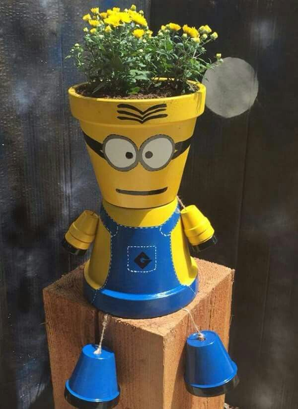 minion terra cotta pots garden ideas flower pot people and minion craft. Black Bedroom Furniture Sets. Home Design Ideas