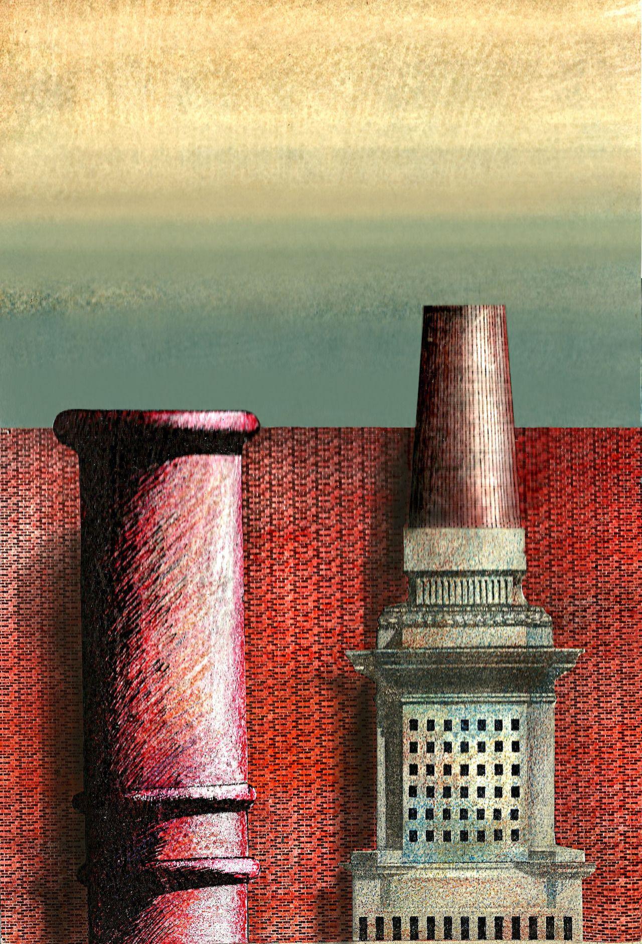 Dibujo collage 1984 (con la base de la piramide de mayo de Buenos Aires)A.L.Moure Strangis.