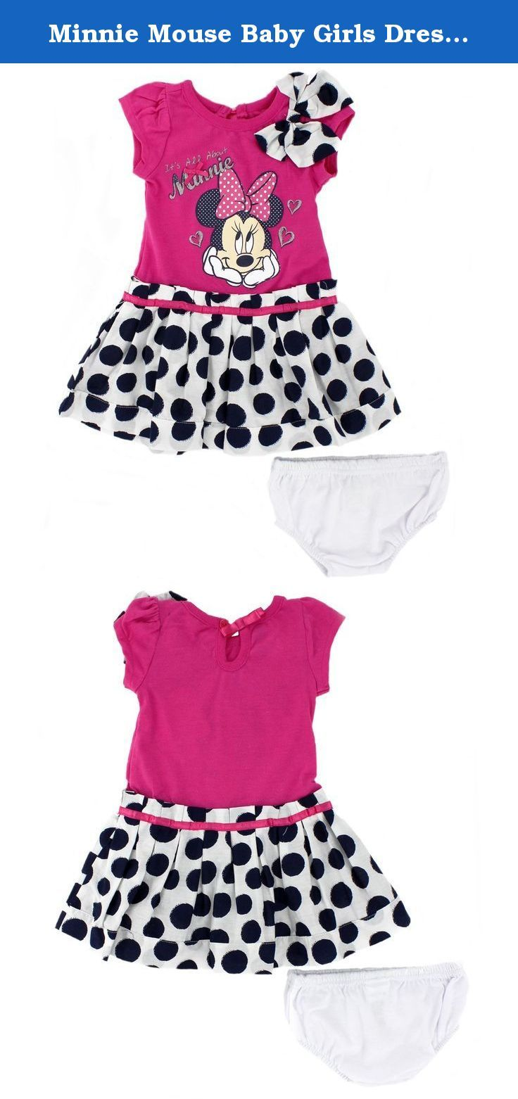0464e61c5 Minnie Mouse Baby Girls Dress and Bloomers Set (18 Months, Pink/Navy Dots