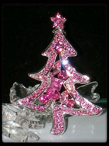 ROSE PINK SILVER CHRISTMAS STAR TREE PIN BROOCH~SWAROVSKI CRYSTAL | eBay