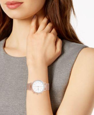 f1a1e357838cd Skagen Women s Mini Hald Rose Gold-Tone Stainless Steel Mesh Bracelet Hybrid  Smart Watch 34mm - Gold