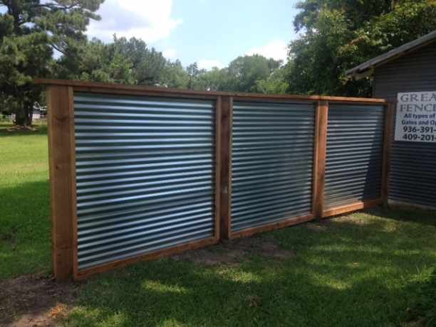 fence projects dayton tx corrugated metal fence on inexpensive way to build a wood privacy fence diy guide for 2020 id=42710