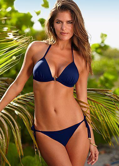 1ac0a8c439 bikini Triangle Top, Black Bikini Tops, Blue Bikini, Bikini Bottoms, Swim  Bottoms