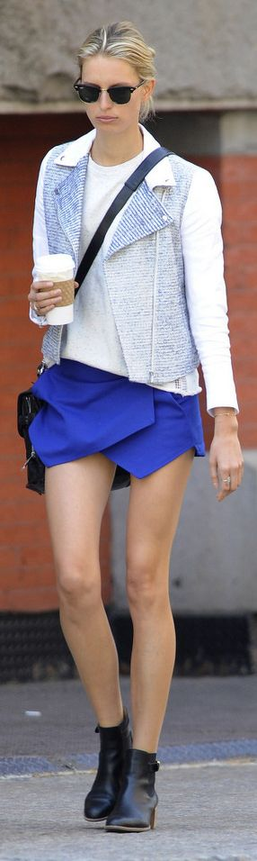 Flash of cobalt blue picked up in the blue running through the white jacket.