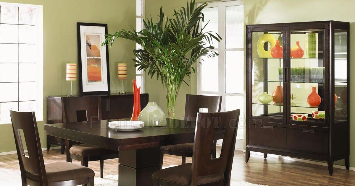 Dark Wood Finish Modern Dining Room w\/Optional Items Here
