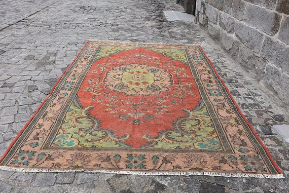 Turkish Vintage Rug 6.4 ft x 9.4 ft Free Shipping Turkish Rug Decorative Rug Floor Rug Vintage Rug Anatolian Rug Area Rug Ethnic Rug