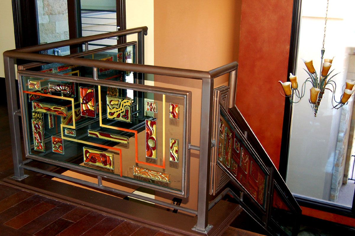 Best Painted And Etched Glass Steel Stair Rail Steel Stair 640 x 480