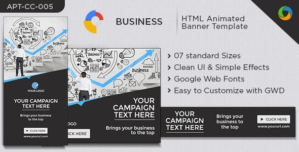 business html5 banners 7 sizes google fonts
