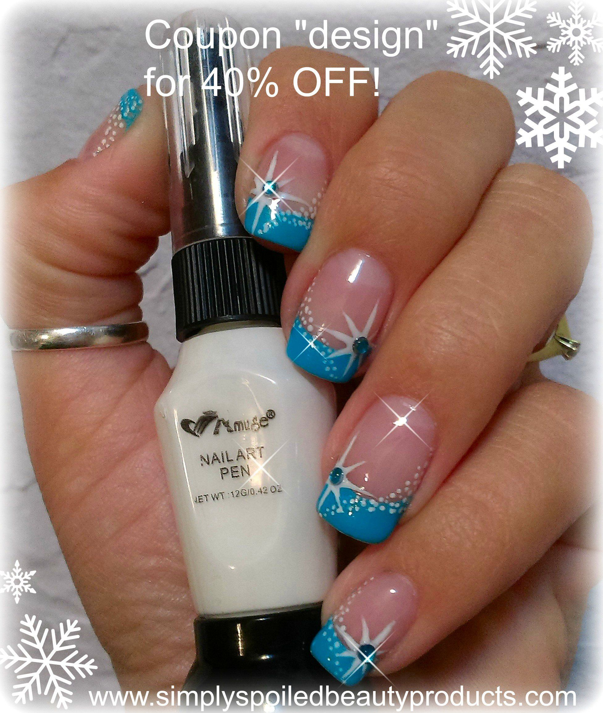 Winter Star And Snow Nail Art Using Nail Art Pen From Www
