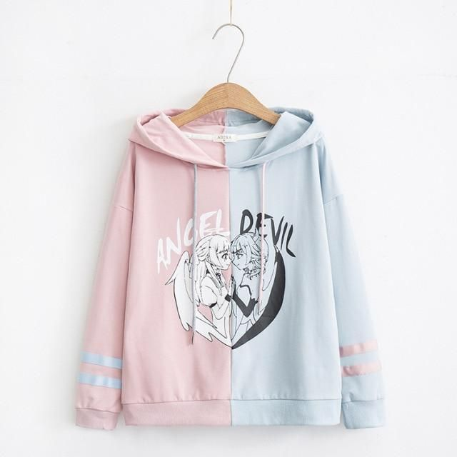 Photo of Women's Two-Tone Anime Angel & Devil Pullover Hoodie – Blue / Pink / L