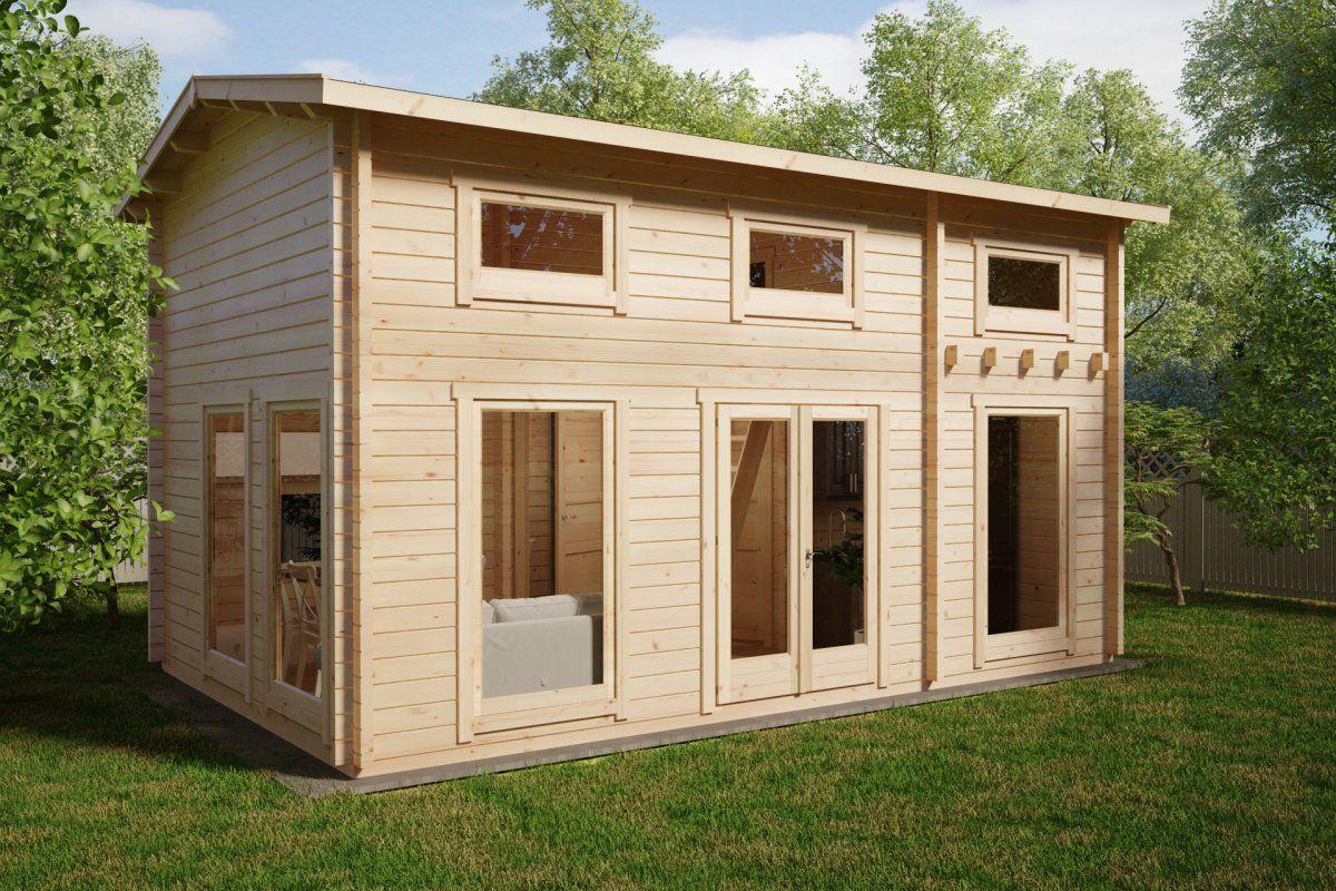 """Holzhaus """"Schweden D"""" mit Schlafzimmer und Schlafloft 30m2"""