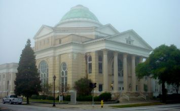 First Baptist Church Shrouded with Clouds