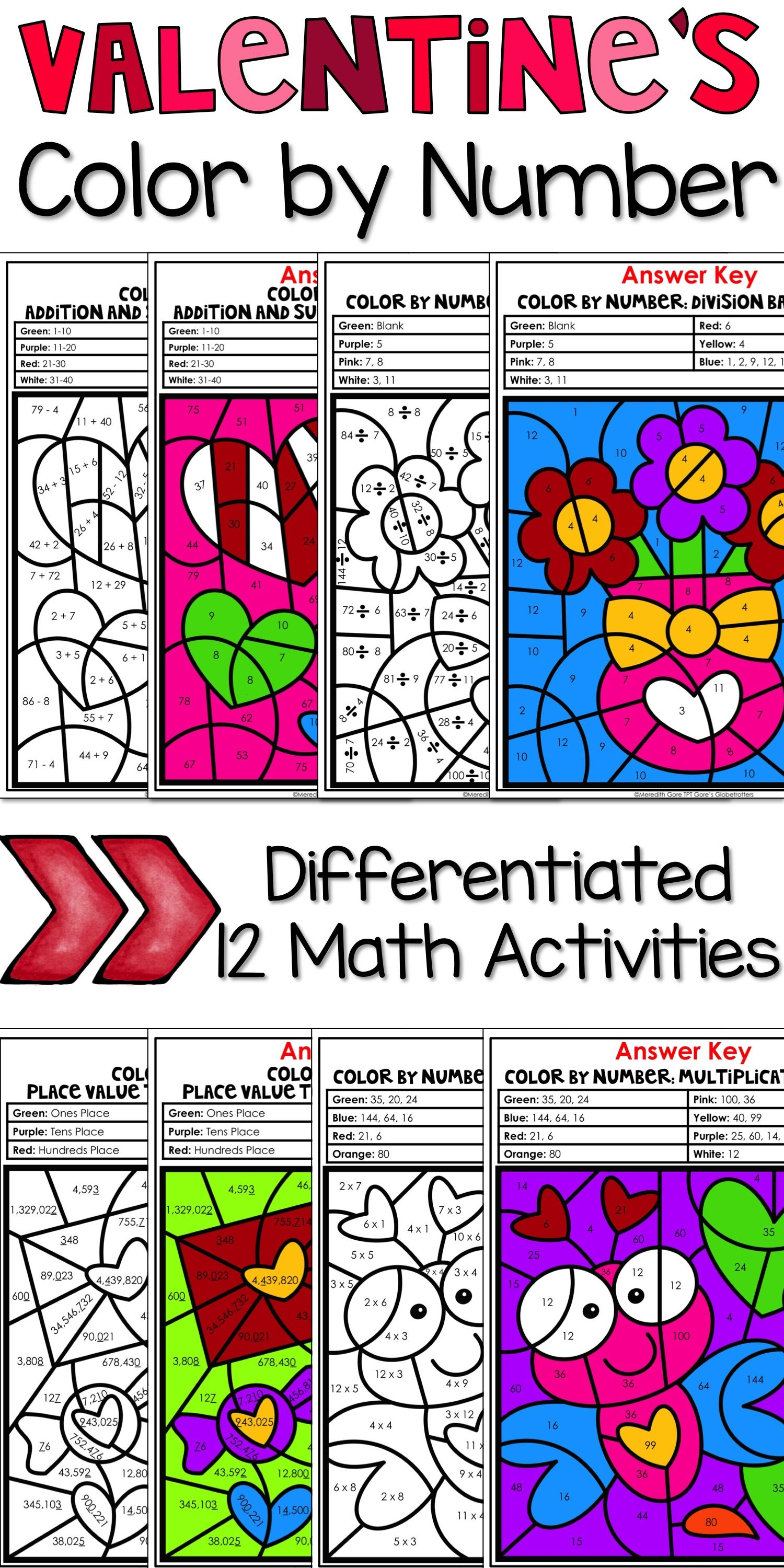 Valentine S Day Color By Number Math Worksheets