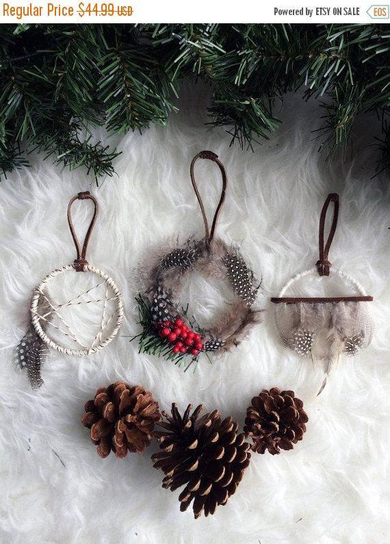 bohemian christmas ornament set rustic gift by bastandbruin