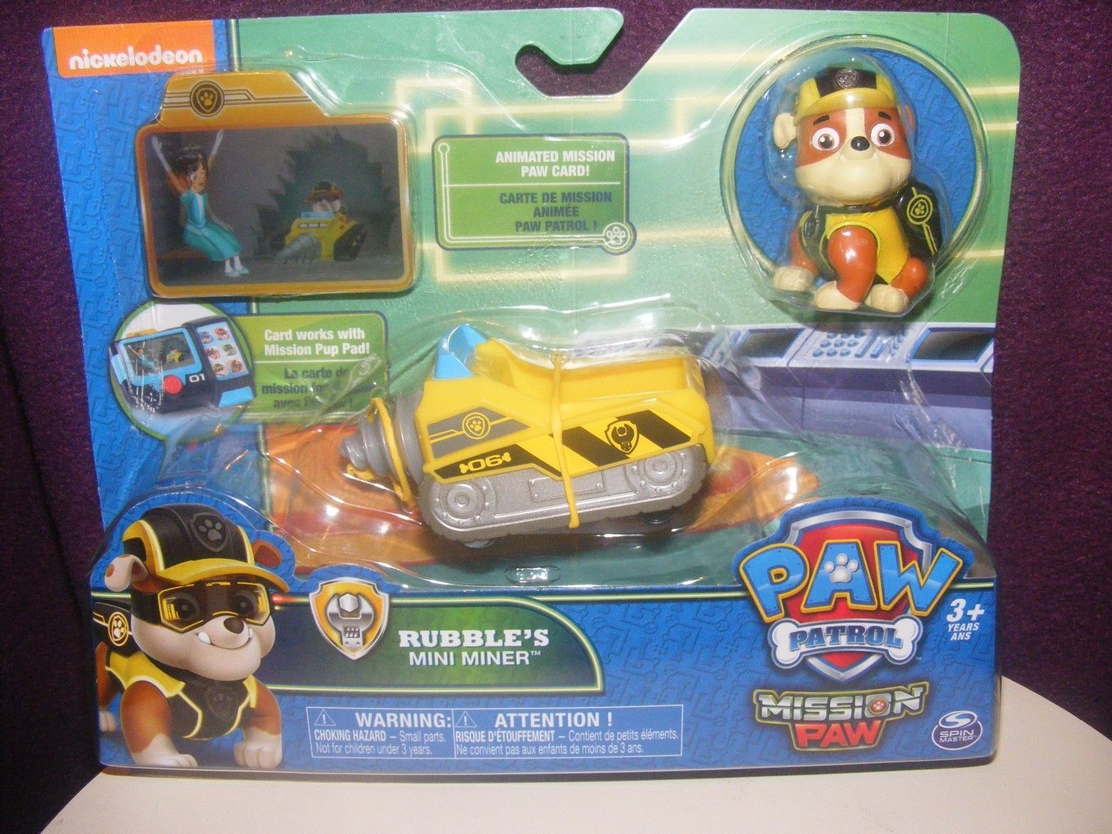 Figure and Vehicle Rubble's Mini Miner Paw Patrol Mission Paw