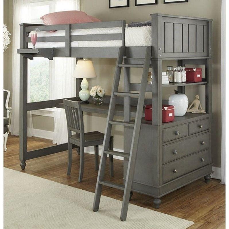 Ne Kids Lake House Twin Loft Bed With Desk In Stone Twin Loft Bed Bunk Bed With Desk Loft Bunk Beds