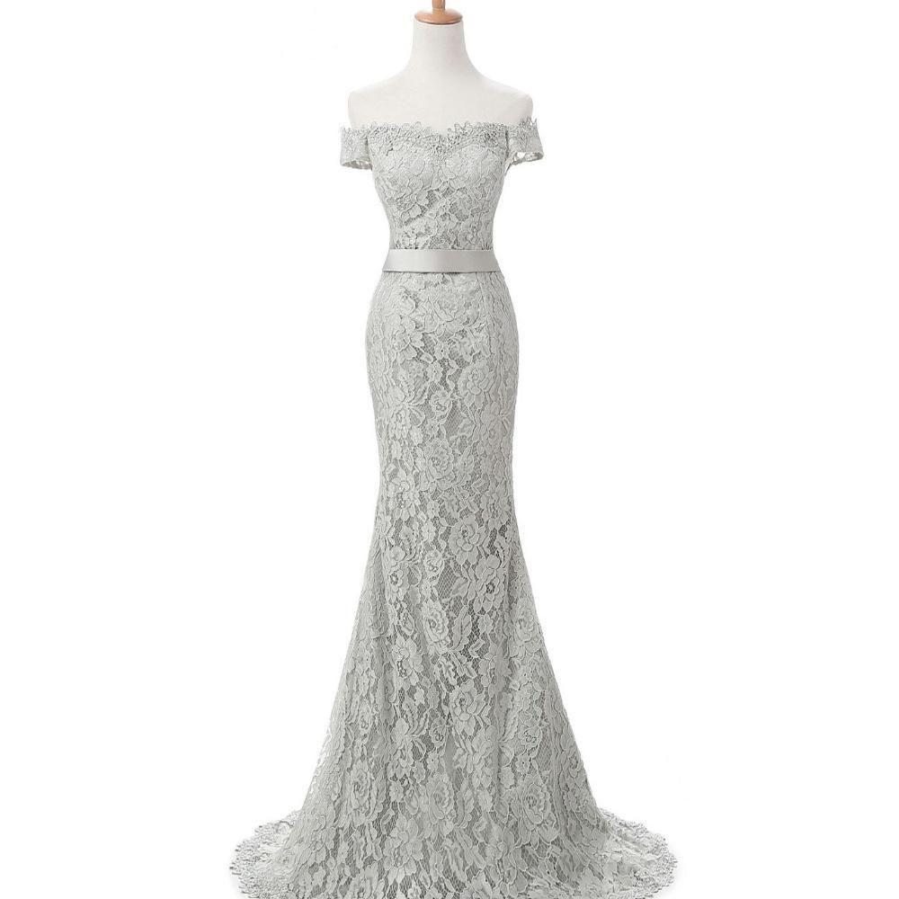 Off shoulder short sleeve lace mermaid long evening prom dresses