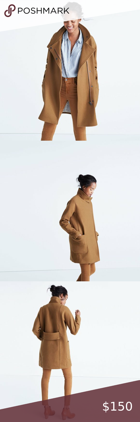 MADEWELL City Grid Wool Coat Burnished Cedar in 2020