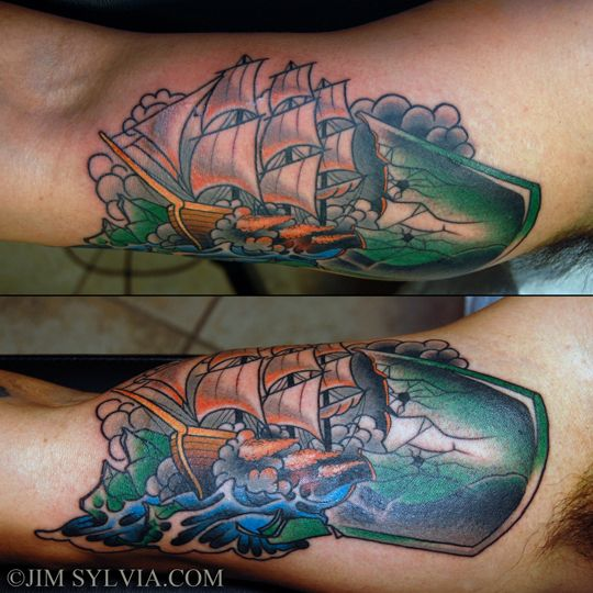 ship breaking out of a bottle by jim sylvia at unbreakable tattoo ink all the skin d. Black Bedroom Furniture Sets. Home Design Ideas