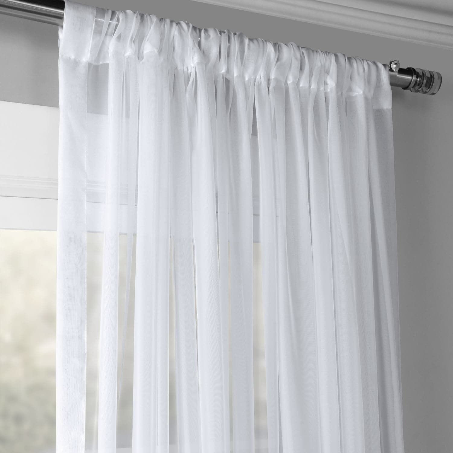 Extra Wide Solid White Voile Poly Sheer Curtain Panel Curtains Sheer Curtain Sheer Curtain Panels