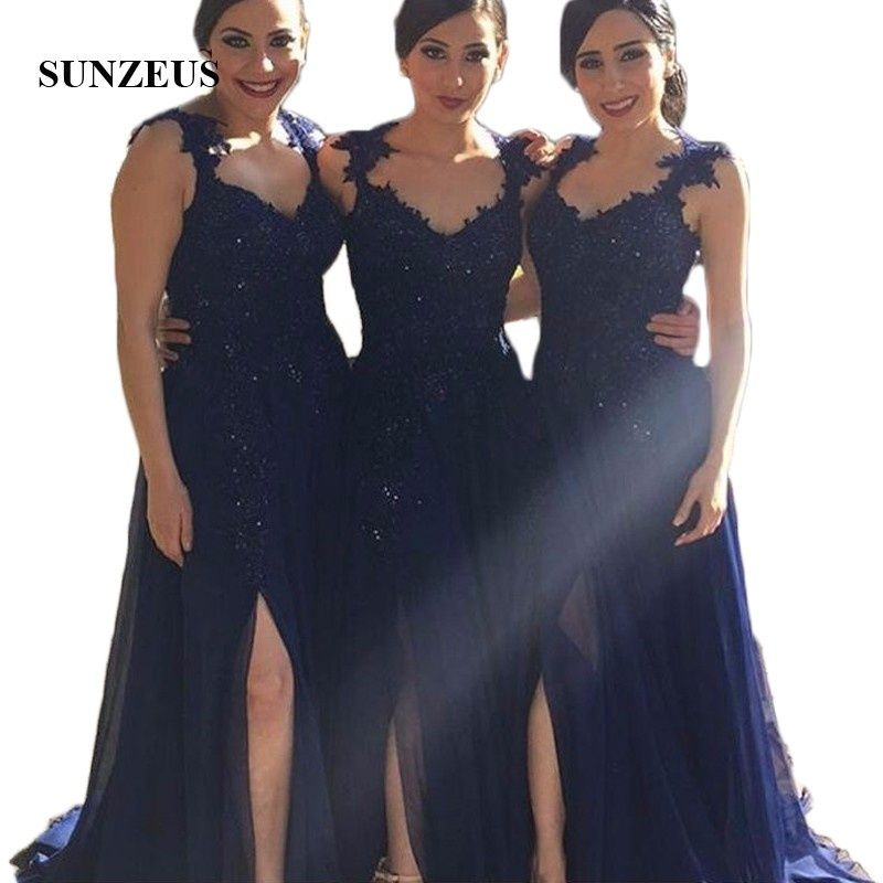 0529b4ddc Navy Blue Bridesmaid Dresses Plus Size Arabic Sweetheart Lace Appliques  Beaded Side Split Long vestido madrinha casamento