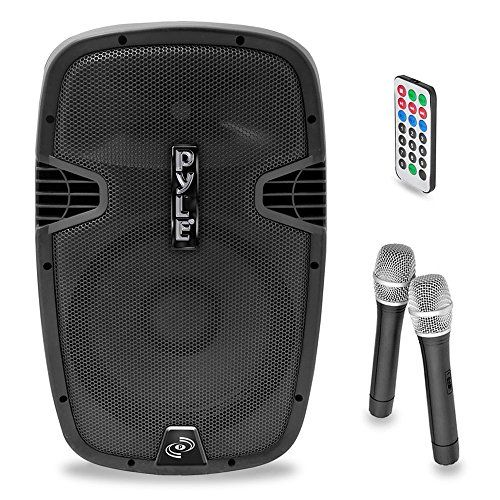 PYLE-PRO PPHP159WMU 15-Inch 1600-Watt Bluetooth PA Loudspeaker with 2 Wireless Mics, FM Radio, LCD Readout, USB and SD Card Readers   PYLE-PRO PPHP159WMU 15-Inch 1600-Watt Bluetooth PA Loudspeaker with 2 Wireless Mics, FM Radio, LCD Readout, USB and SD Card Readers       Bluetooth Speaker System     This high-power active Bluetooth Speaker System will add rich 2-way full ranged sounds to any occasion.  The system is portable and includes built-in rechargeable battery so it's perfect ..