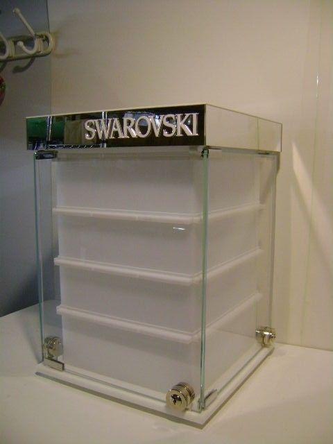 Swarovski Jewelry Earring Card Glass Rotating Display Countertop