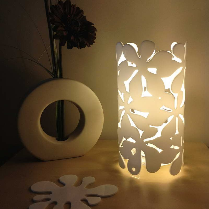 Beautiful Battery Operated Table Lamps With Flower Decoration ...