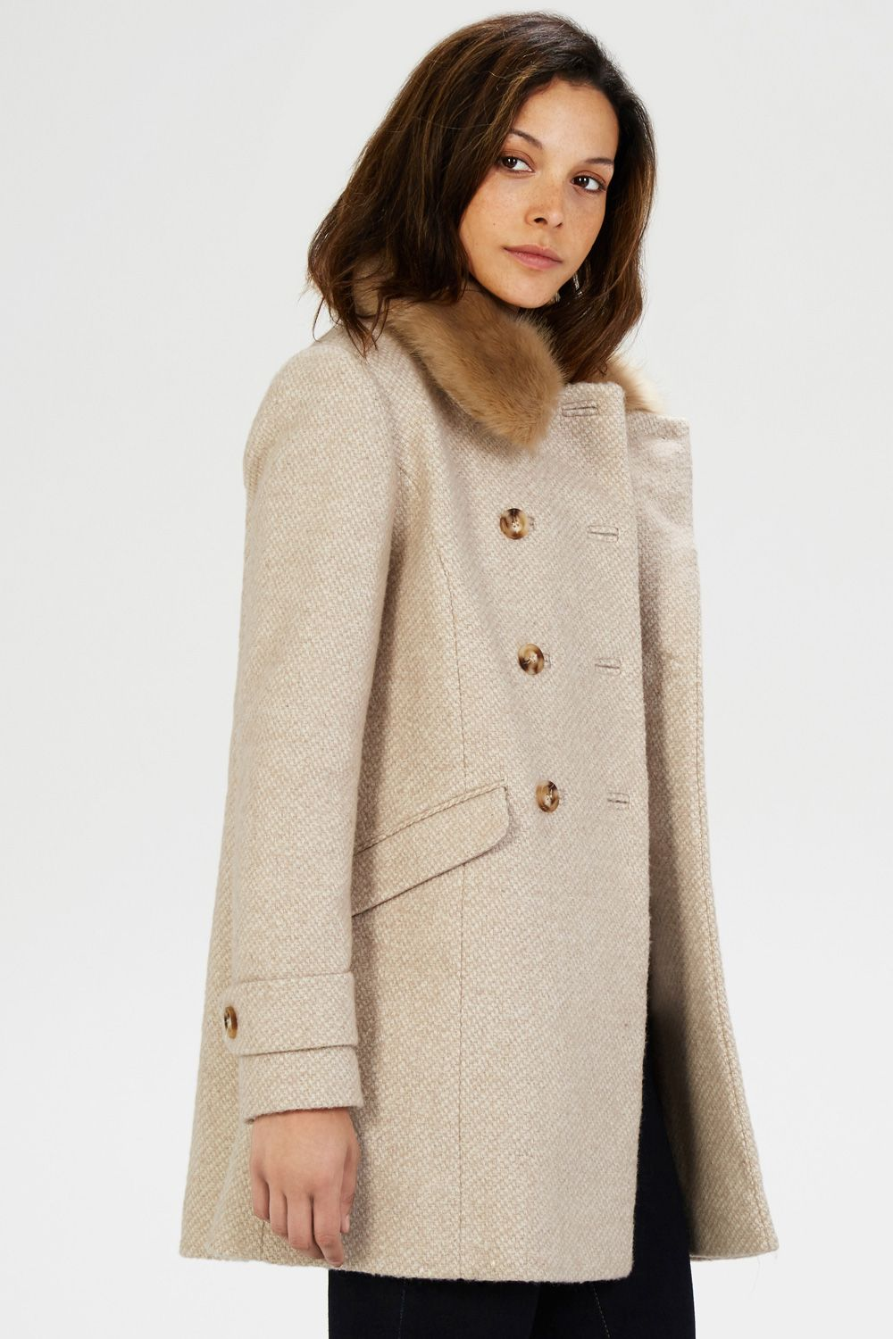Coats & Jackets | Cream DB Fur Collar Coat | Warehouse | в_Coat ...