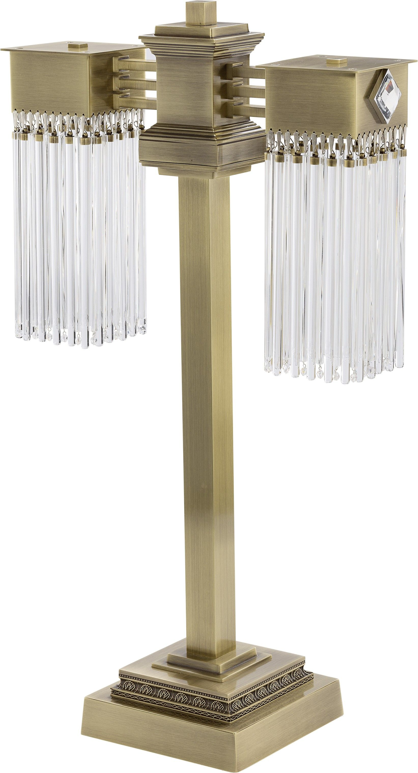 Designer Brass Table Lamp Carino With 2 Glass Shades Lamp