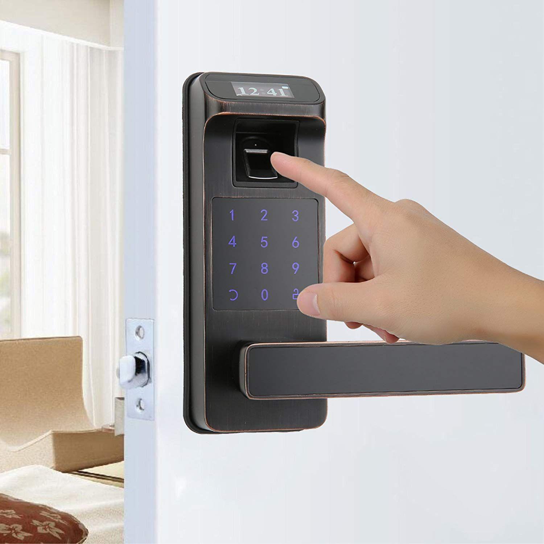 Harfo Hl91 Fingerprint Touchscreen Keyless Door Lock With Oled Display Perfect For Office Home Aged Bronze Ca Keyless Door Lock Security Tips Door Locks