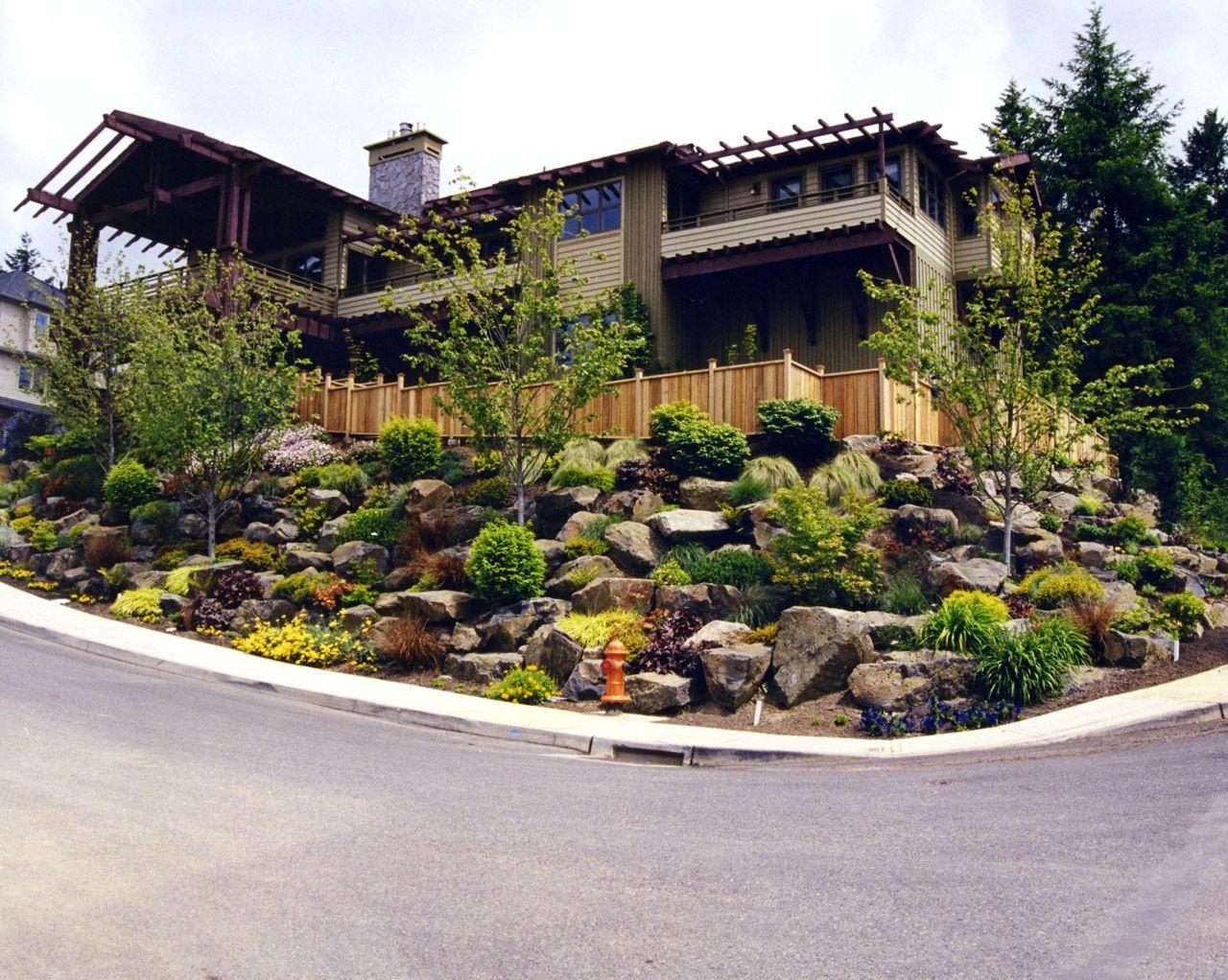 Low Maintenance Shrubs And Hillside Landscaping Ideas Landscape And Design Tips For Challengin Front Yard Landscaping Design Sloped Garden Hillside Landscaping