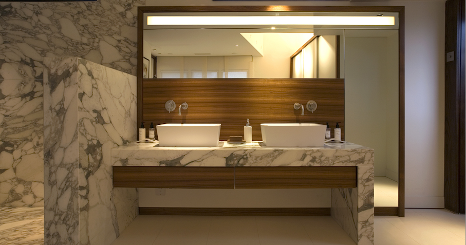 Bespoke Bathroom In Teak Glass And Calacatta Statuario Marble Designed And Made By Artichoke