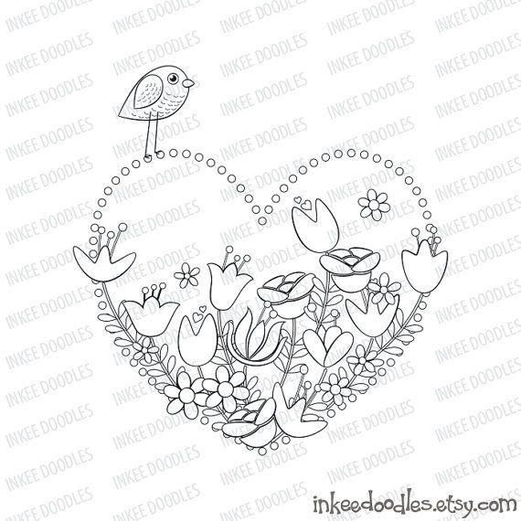 Spring Flowers Bird Heart Mothers Day Valentines Day Happy Birthday