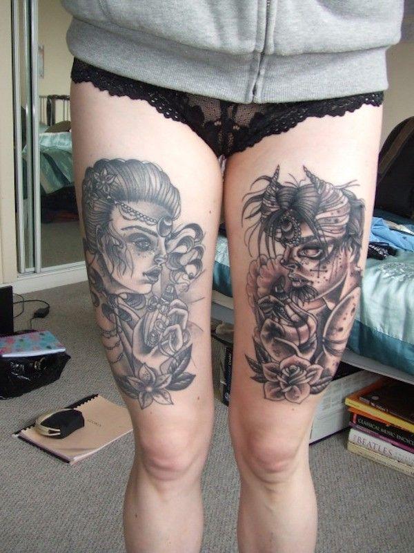 110 Best Thigh Tattoos For Women And Men Thigh Tattoos Pinterest