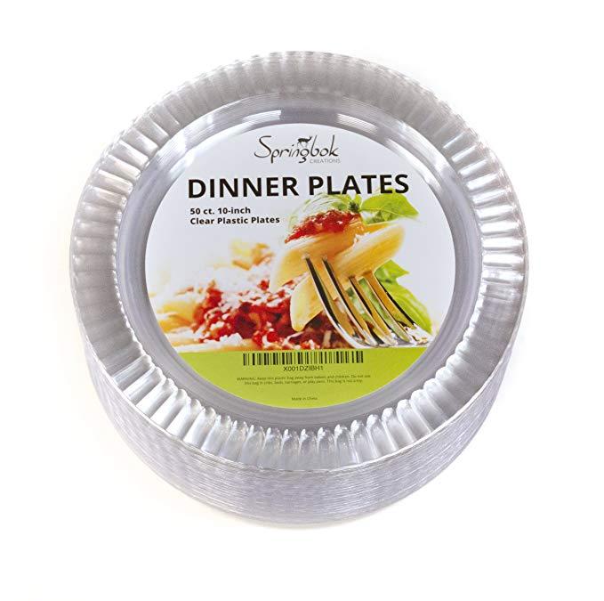Amazon Com 50 Disposable Clear Plastic Dinner Plates 10 Inch Gateway Dinner Plates Disposable Plastic Plates Clear Plastic Plates
