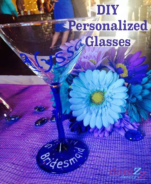 DIY Personalized Glasses for your wedding party using paint pens