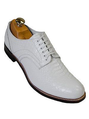 73ea2ebfbf2 Stacy Adam Men White Leather Anaconda Snakeskin Design Madison LaceUp Dress  Shoe