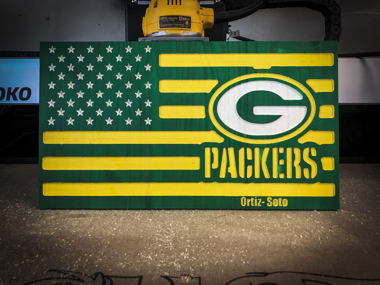 Greenbay Packers Flag Rustic Wood Flag Football Home Decor Man Cave Nfl Wood Flag Green Bay Packers Man Cave Man Cave Nfl