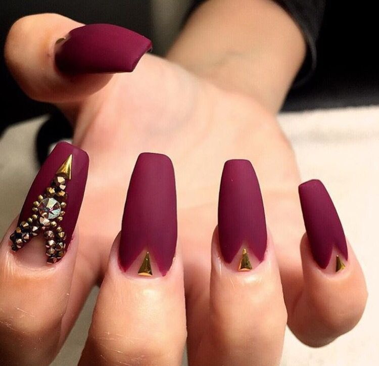 Matte maroon n black nail do with studs & crystals | Nails ...