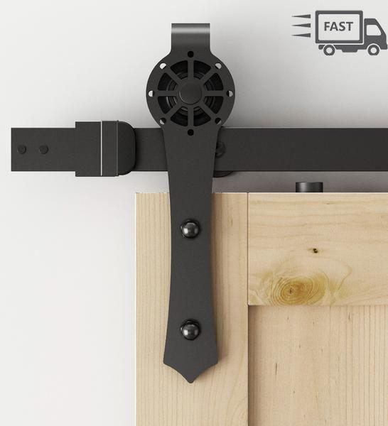 5FT/6FT Compass Hollow Cut Barn Door Wheel Black Sliding Barn Door Hardware & 5FT/6FT Compass Hollow Cut Barn Door Wheel Black Sliding Barn Door ...