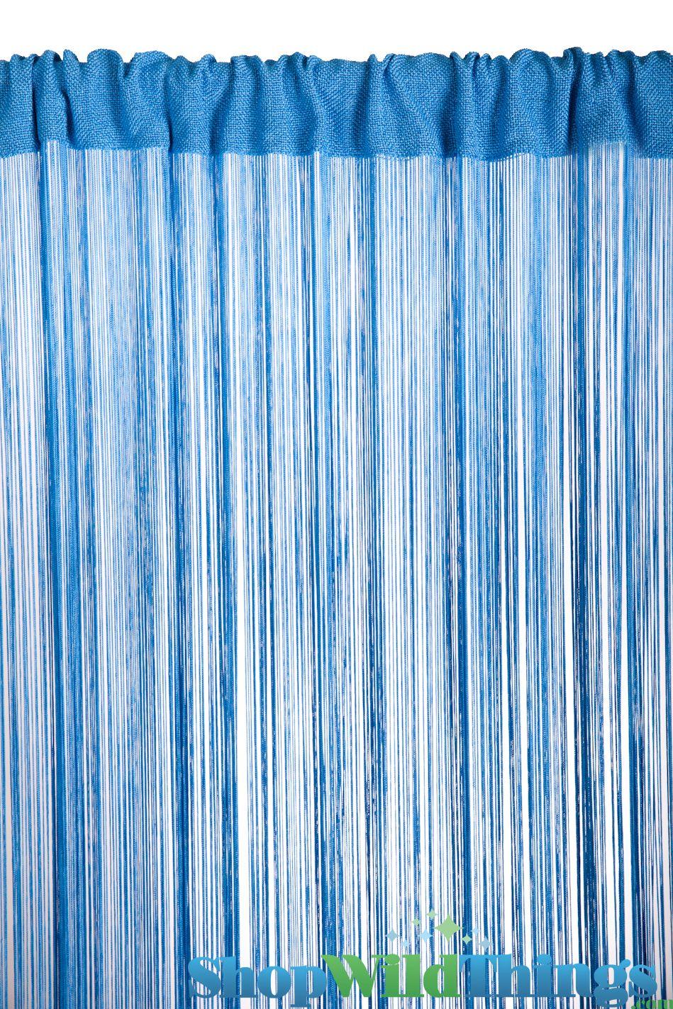 Blue string beaded curtain