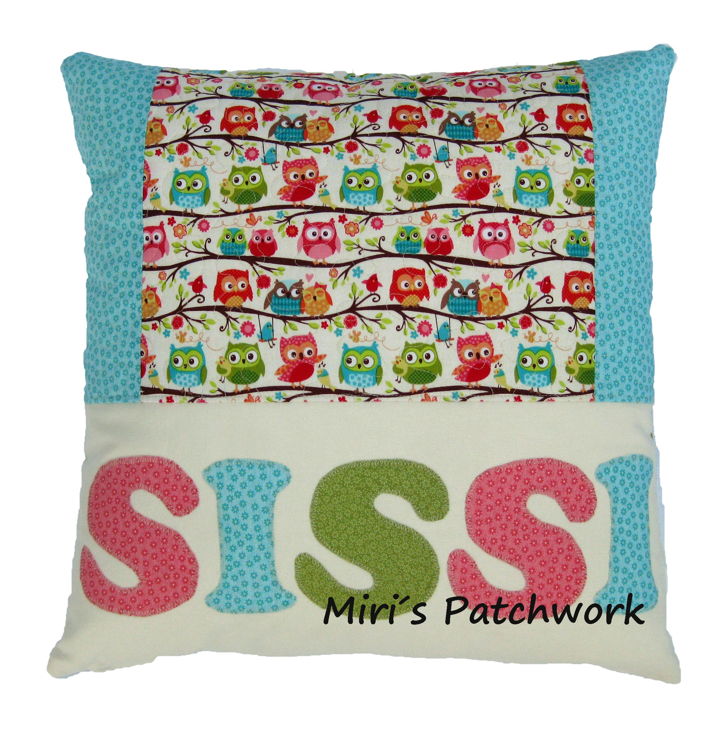 Personalized patchwork cushion. Name applique cushion. Made to order cushion . Kids room decor. Quilted cushion