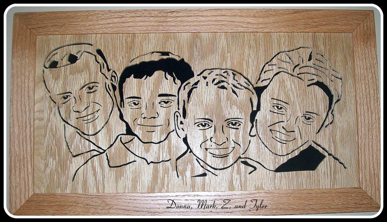 Family Portrait Scroll Sawn Portrait Handmade Family Portrait
