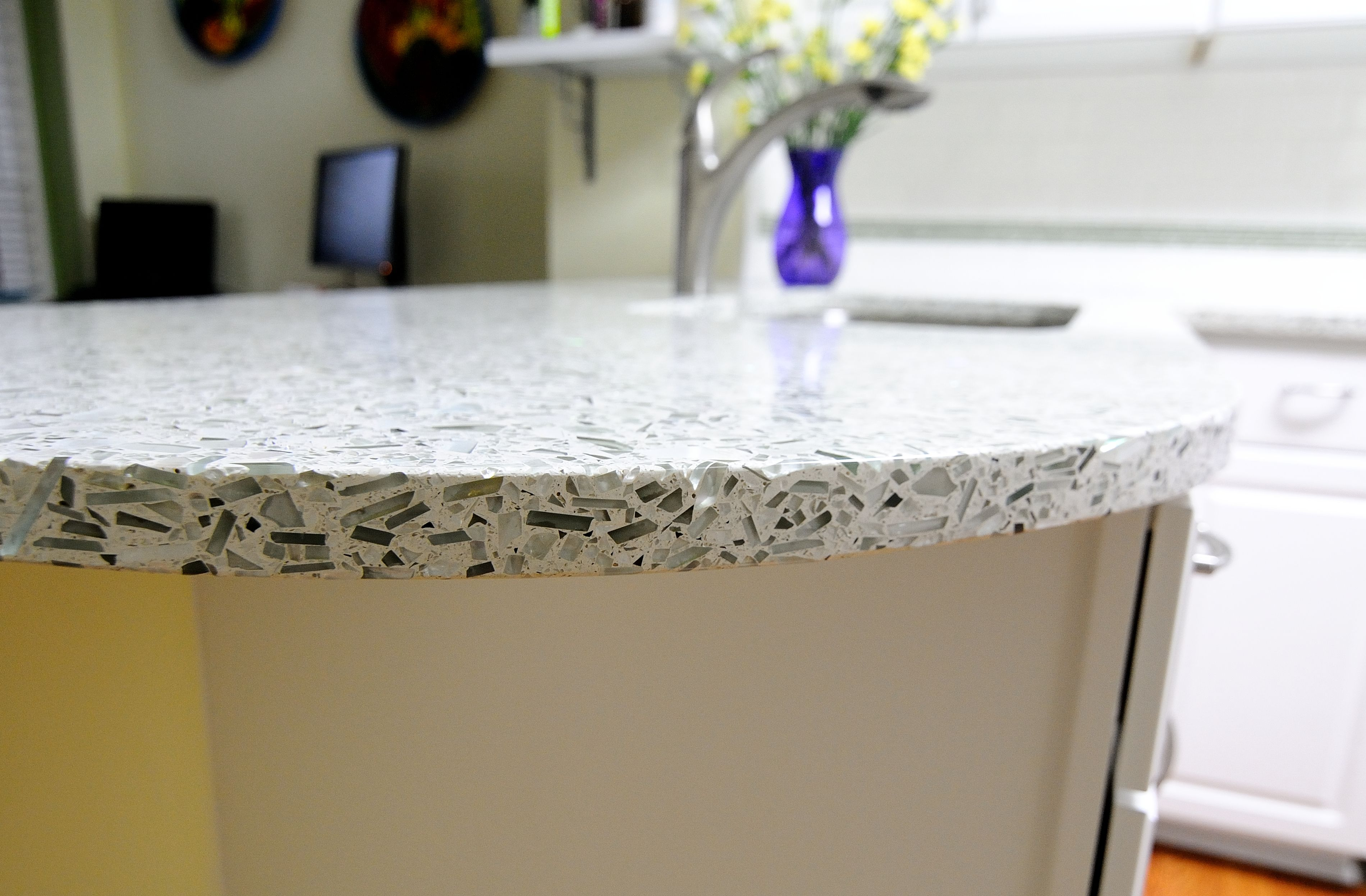recycled glass kitchen countertops modern bar stools pin by construction resources on vetrazzo