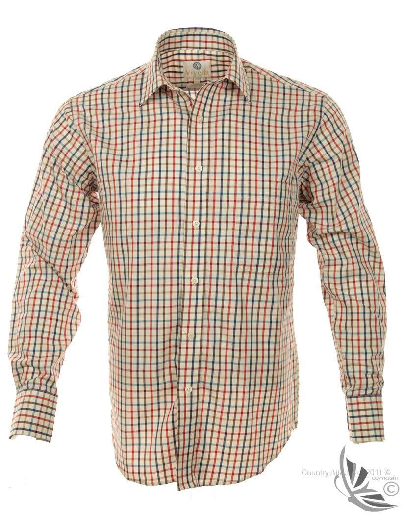 Viyella Fine Tattersall Shirt 100% Cotton - Navy / Red VY2502
