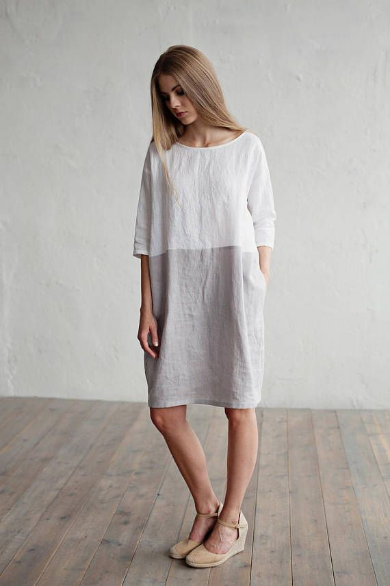 ae600ac66d9fe Soft and washed loose fitted linen dress with 3 4 sleeves and 2 hidden side  pockets in colour block (white and light gray). This pure linen tunic dress  will ...