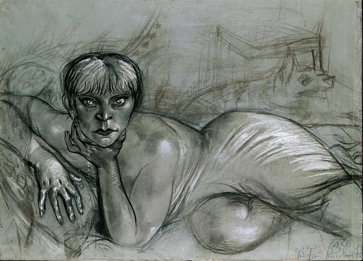 Otto Dix Liegender Weiblicher Akt Karton Zu Liegende Auf