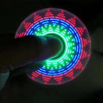 Electroplated Fid Spinner with 18 Patterns LED Light
