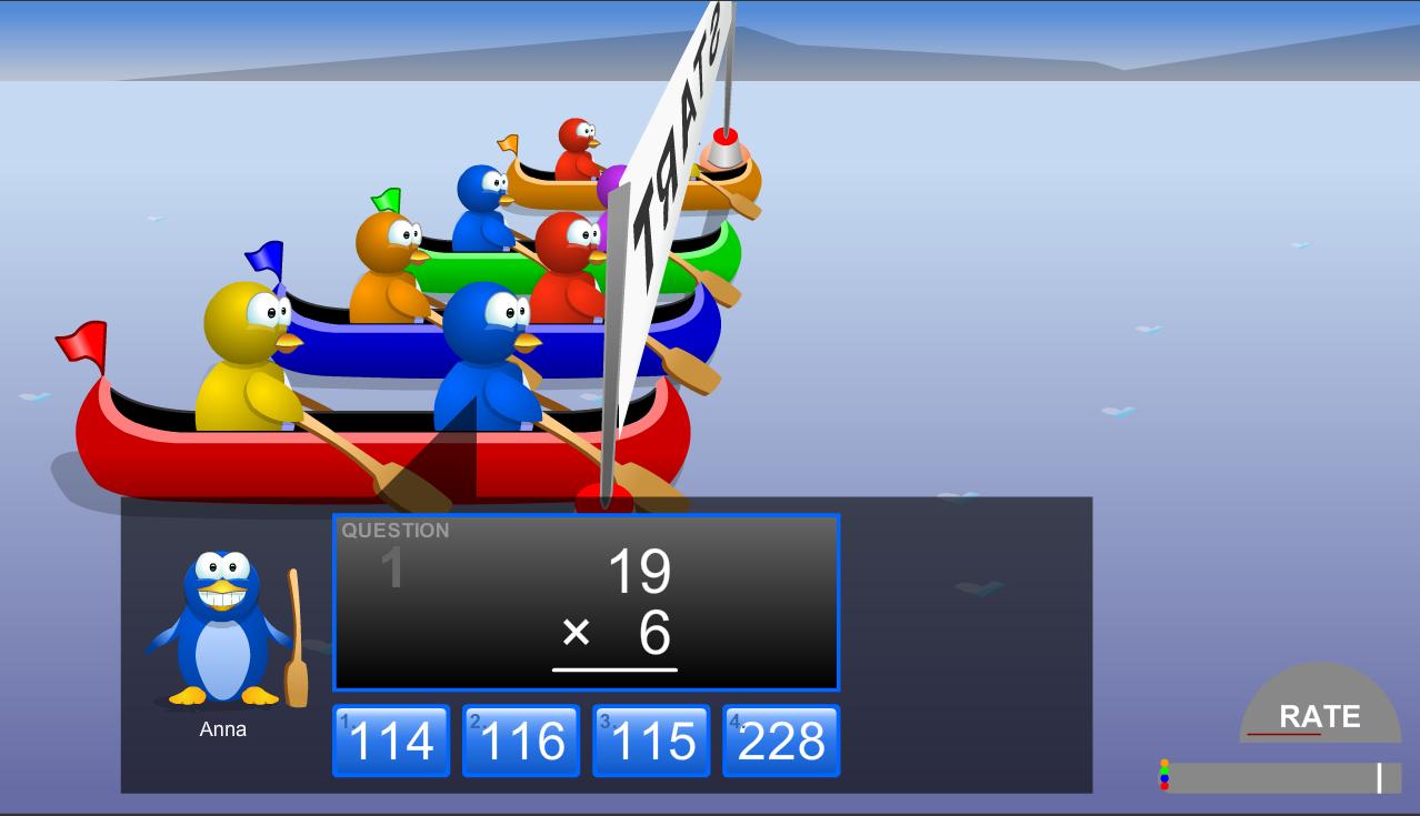 Canoe Penguins Play game online, Fun math games, Games